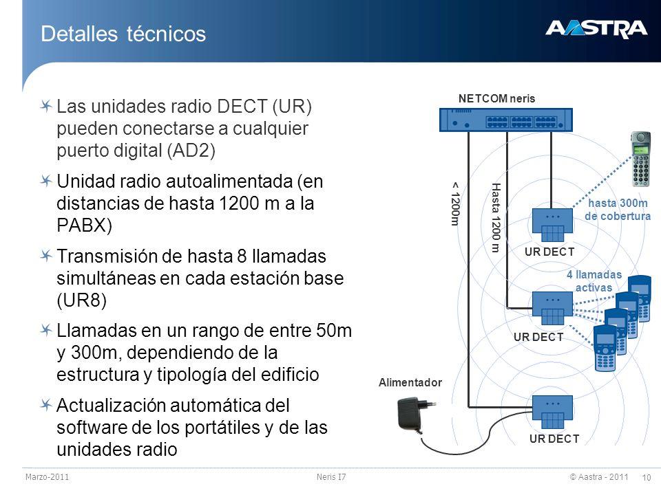 23/03/2017Detalles técnicos. Las unidades radio DECT (UR) pueden conectarse a cualquier puerto digital (AD2)
