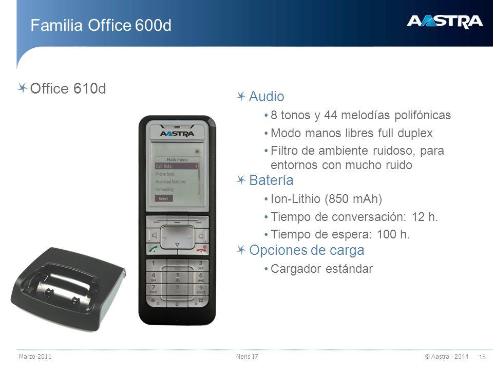 Familia Office 600d Office 610d Audio Batería Opciones de carga