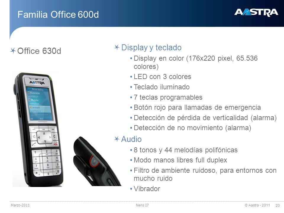 Familia Office 600d Office 630d Display y teclado Audio