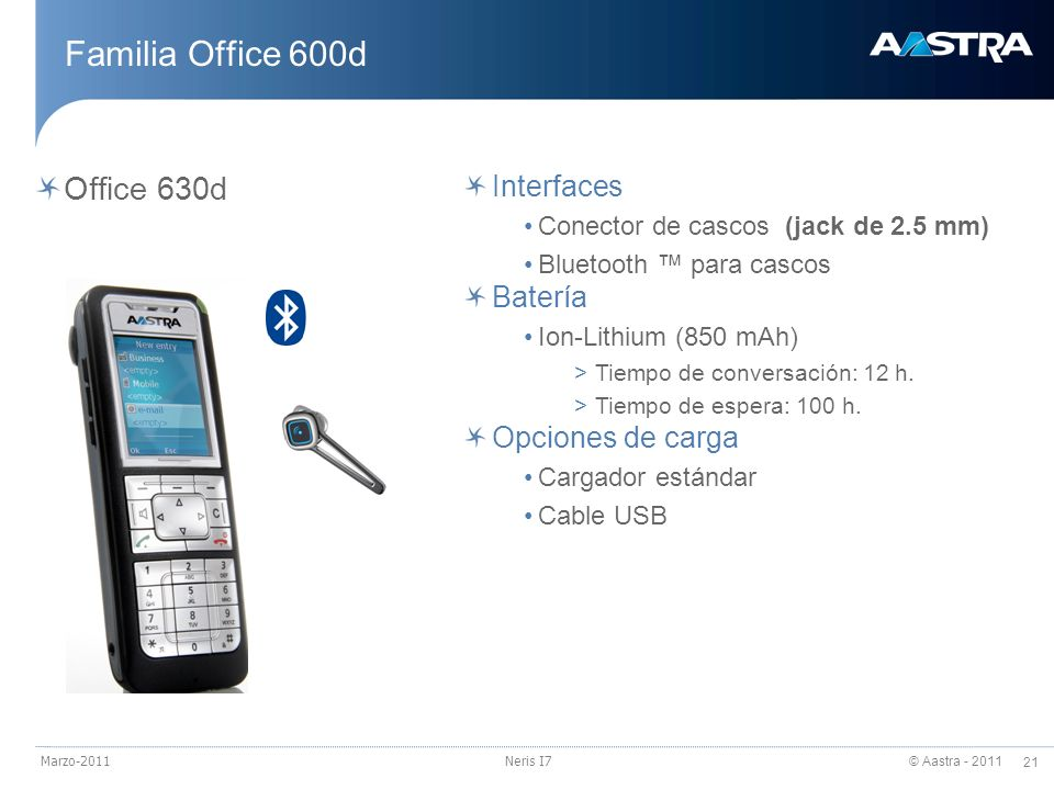 Familia Office 600d Office 630d Interfaces Batería Opciones de carga