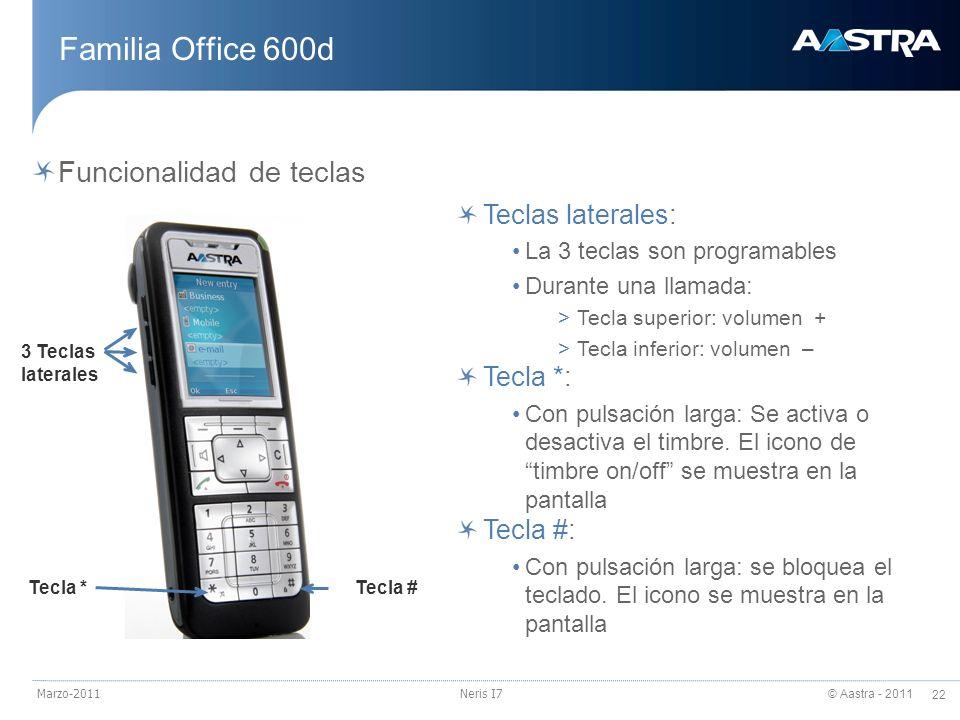 Familia Office 600d Funcionalidad de teclas Teclas laterales: Tecla *: