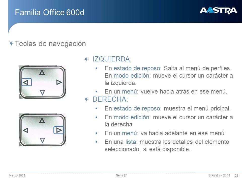 Familia Office 600d Teclas de navegación IZQUIERDA: DERECHA: