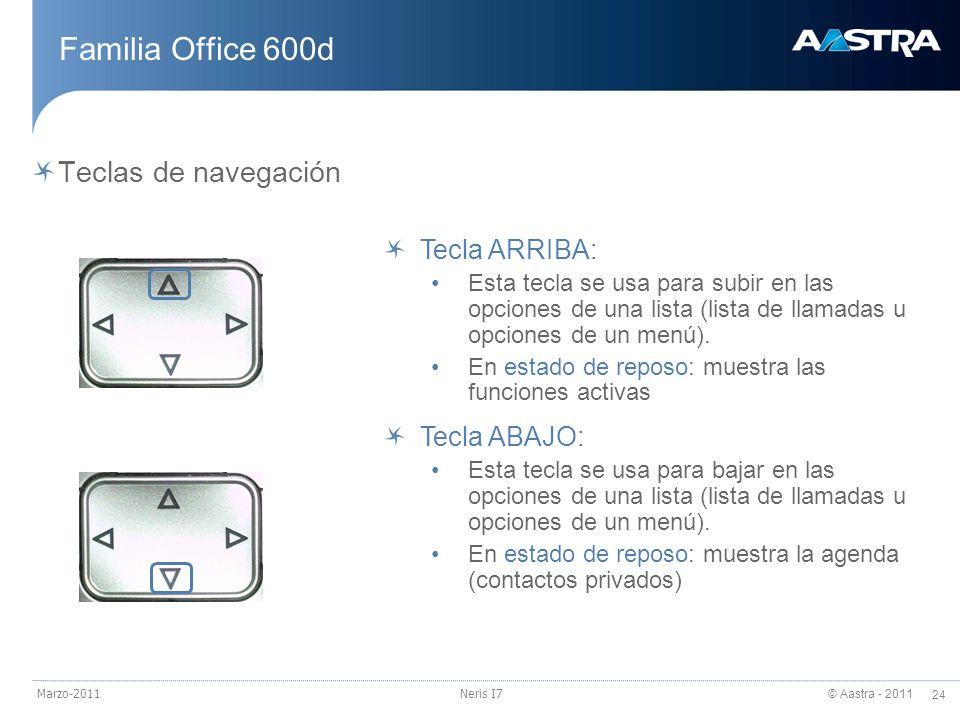 Familia Office 600d Teclas de navegación Tecla ARRIBA: Tecla ABAJO: