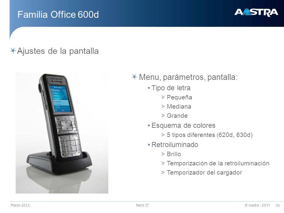 Familia Office 600d Ajustes de la pantalla Menu, parámetros, pantalla: