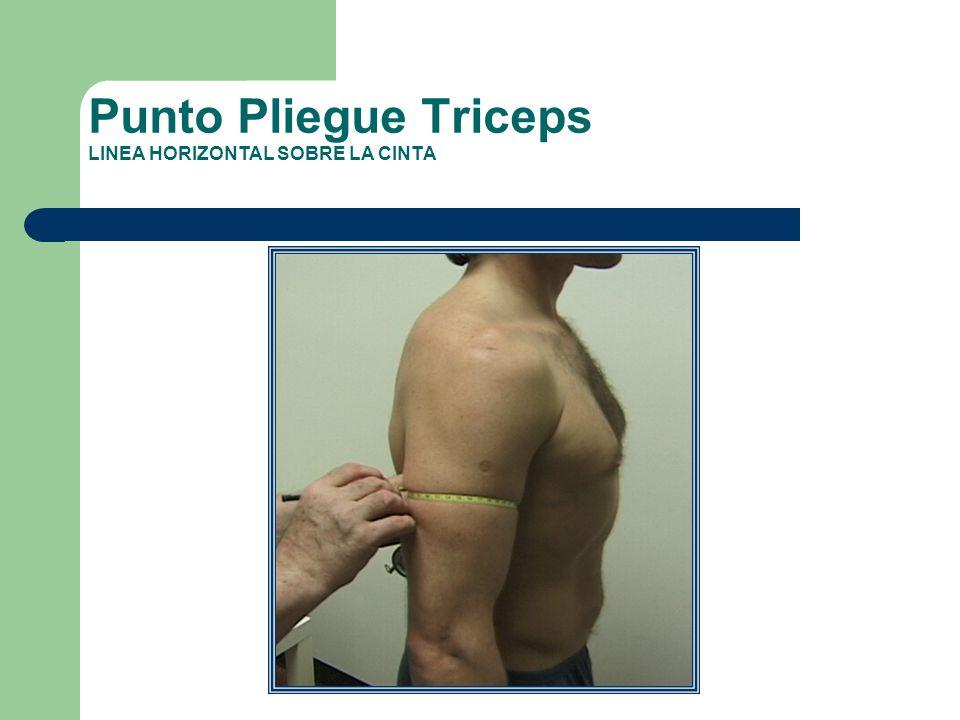 Punto Pliegue Triceps LINEA HORIZONTAL SOBRE LA CINTA