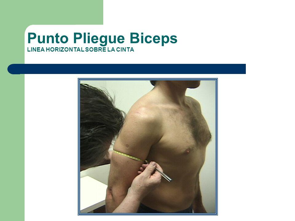 Punto Pliegue Biceps LINEA HORIZONTAL SOBRE LA CINTA