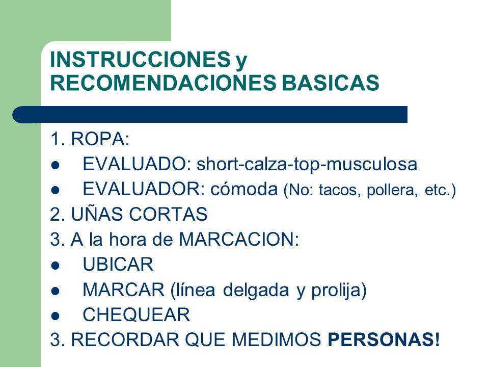 INSTRUCCIONES y RECOMENDACIONES BASICAS