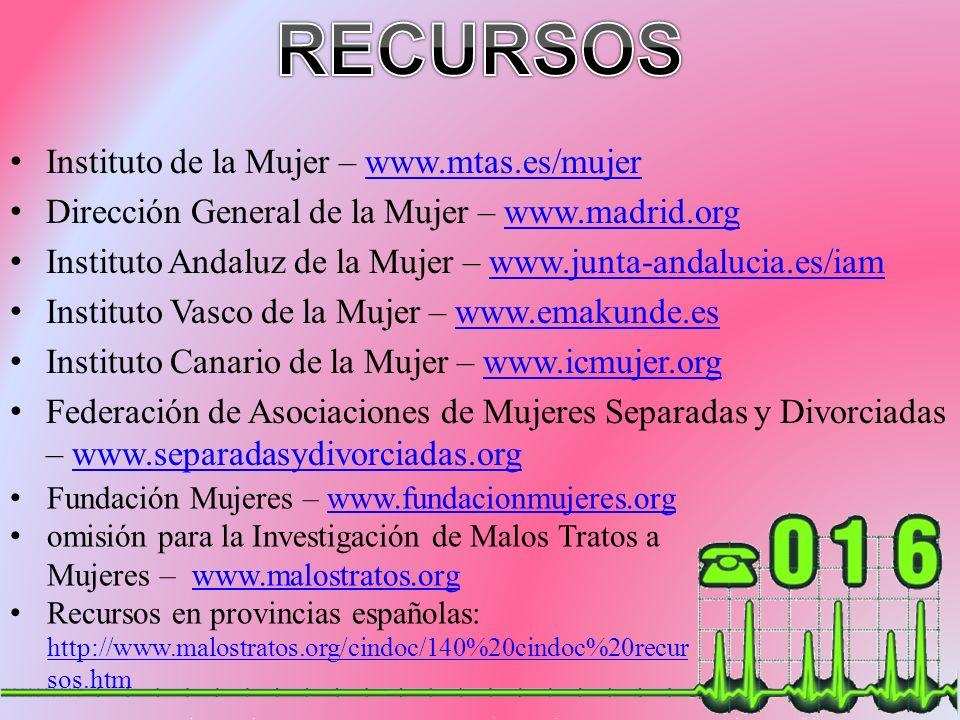 RECURSOS Instituto de la Mujer – www.mtas.es/mujer