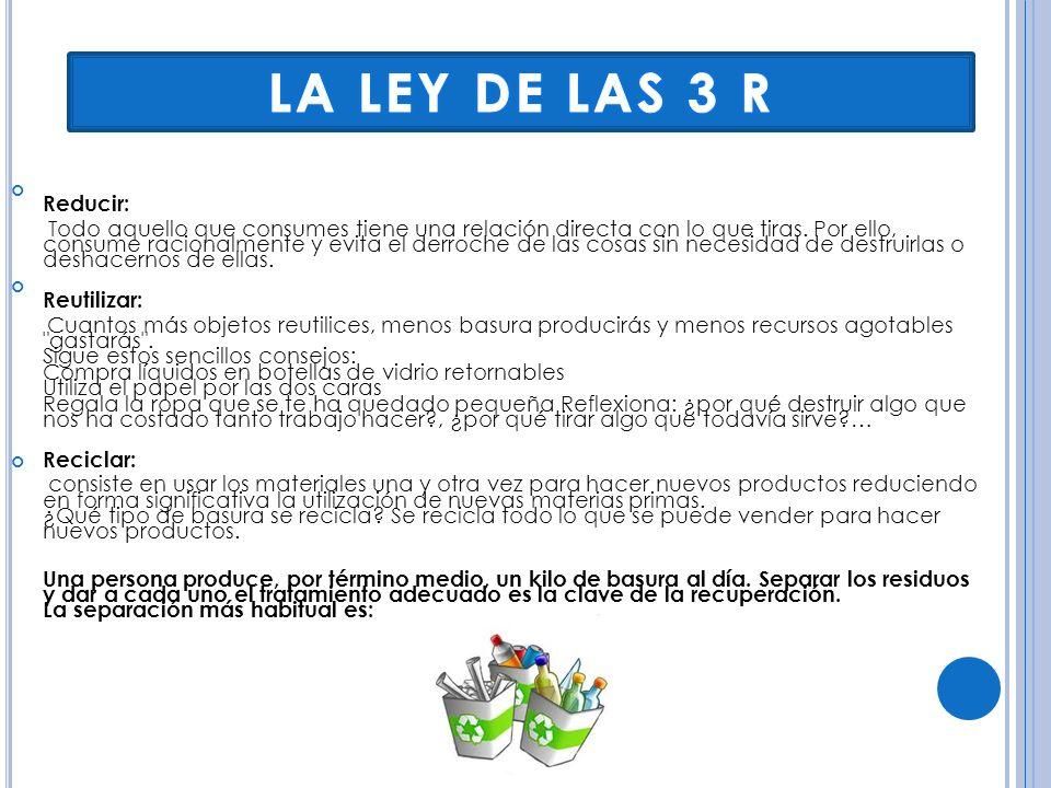 LA LEY DE LAS 3 R Reducir: