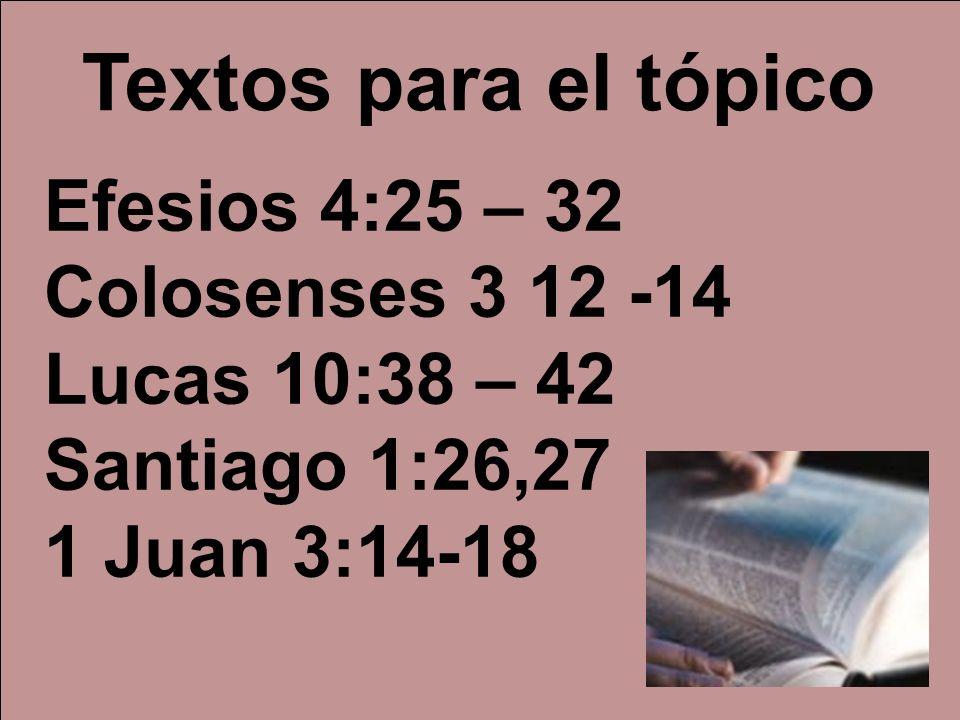 Textos para el tópico Efesios 4:25 – 32 Colosenses 3 12 -14
