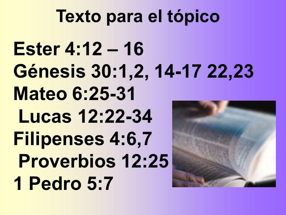 Ester 4:12 – 16 Génesis 30:1,2, 14-17 22,23 Mateo 6:25-31