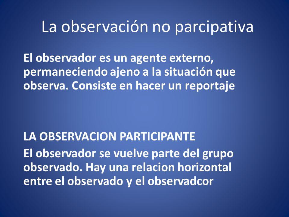 La observación no parcipativa