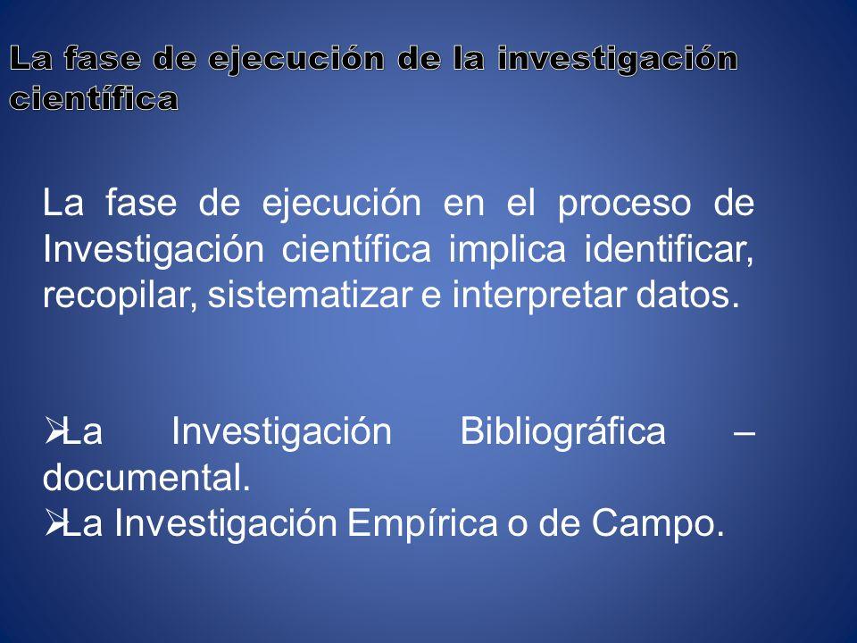 La Investigación Bibliográfica –documental.