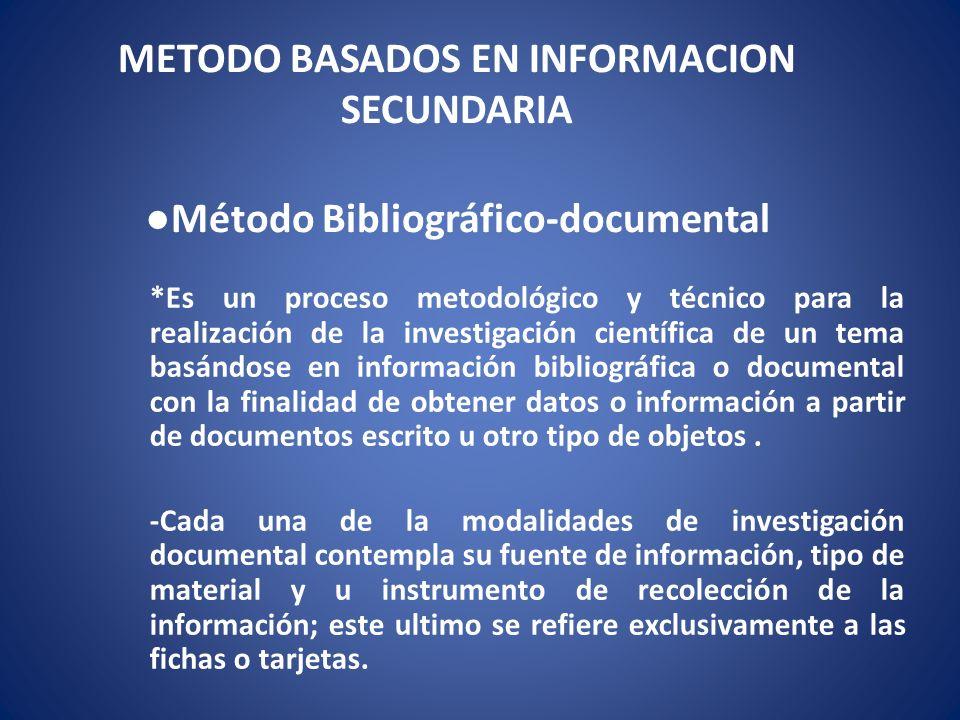 METODO BASADOS EN INFORMACION SECUNDARIA ●Método Bibliográfico-documental