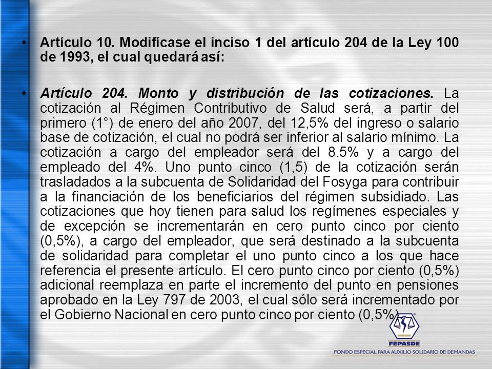 Artículo 10. Modifícase el inciso 1 del artículo 204 de la Ley 100 de 1993, el cual quedará así: