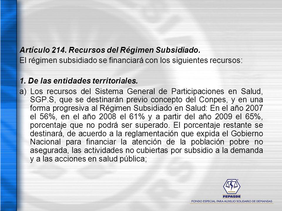 Artículo 214. Recursos del Régimen Subsidiado.