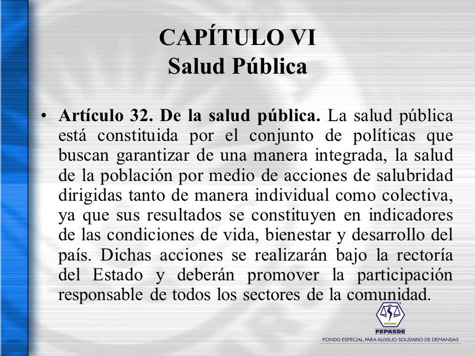 CAPÍTULO VI Salud Pública