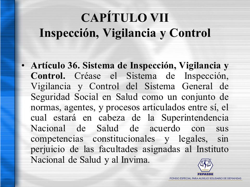 CAPÍTULO VII Inspección, Vigilancia y Control