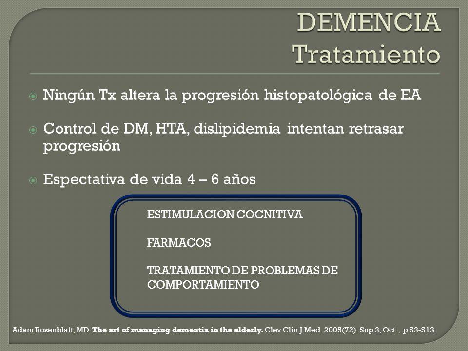 DEMENCIA Tratamiento Ningún Tx altera la progresión histopatológica de EA. Control de DM, HTA, dislipidemia intentan retrasar progresión.