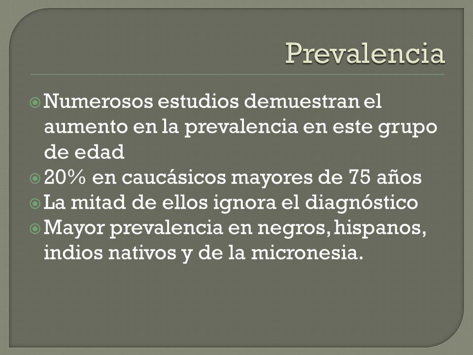 Prevalencia Numerosos estudios demuestran el aumento en la prevalencia en este grupo de edad. 20% en caucásicos mayores de 75 años.