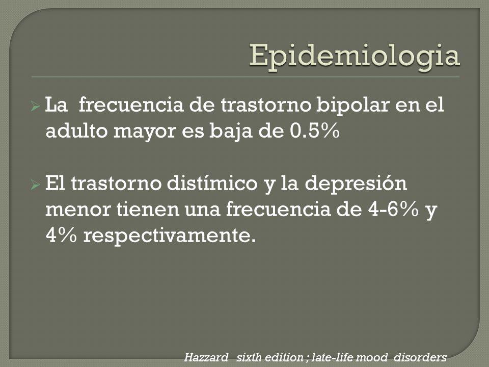 Epidemiologia La frecuencia de trastorno bipolar en el adulto mayor es baja de 0.5%