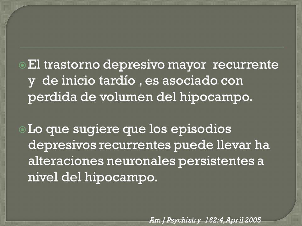 El trastorno depresivo mayor recurrente y de inicio tardío , es asociado con perdida de volumen del hipocampo.