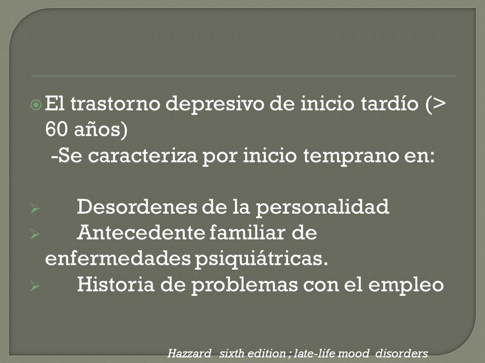 El trastorno depresivo de inicio tardío (> 60 años)