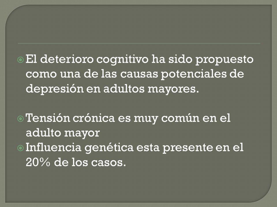 El deterioro cognitivo ha sido propuesto como una de las causas potenciales de depresión en adultos mayores.