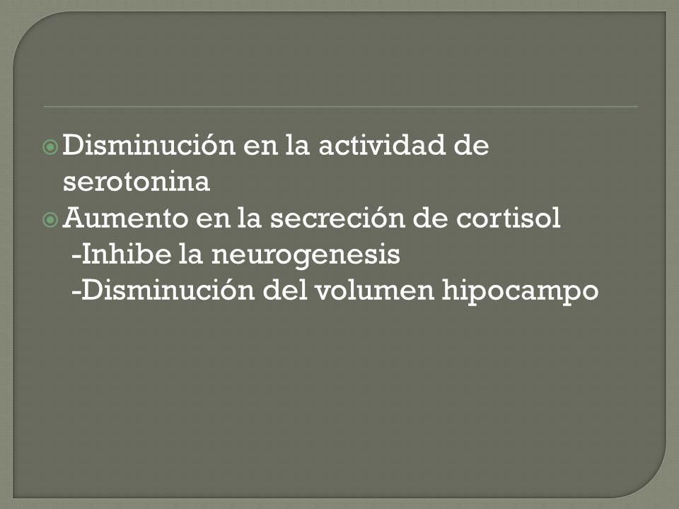 Disminución en la actividad de serotonina