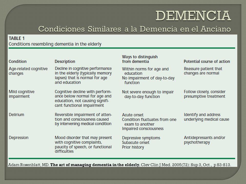 DEMENCIA Condiciones Similares a la Demencia en el Anciano