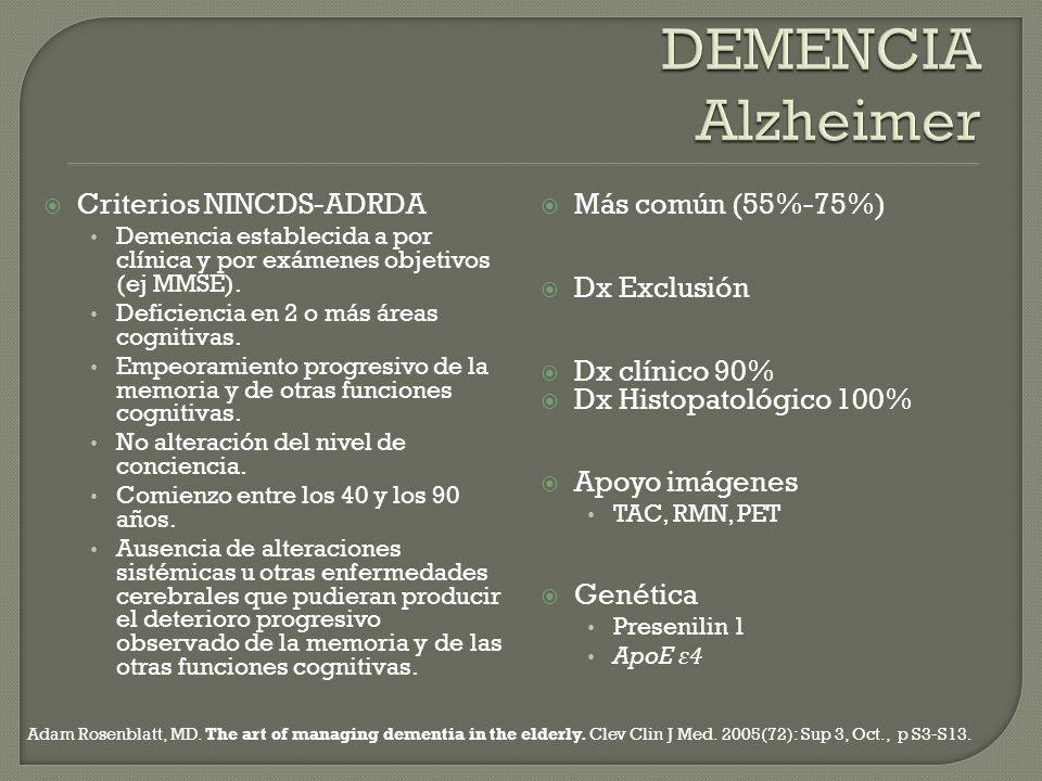 DEMENCIA Alzheimer Criterios NINCDS-ADRDA Más común (55%-75%)