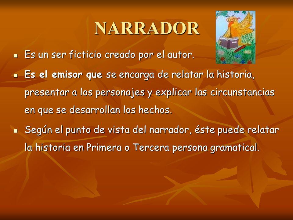 NARRADOR Es un ser ficticio creado por el autor.