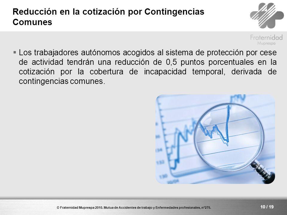 Reducción en la cotización por Contingencias Comunes