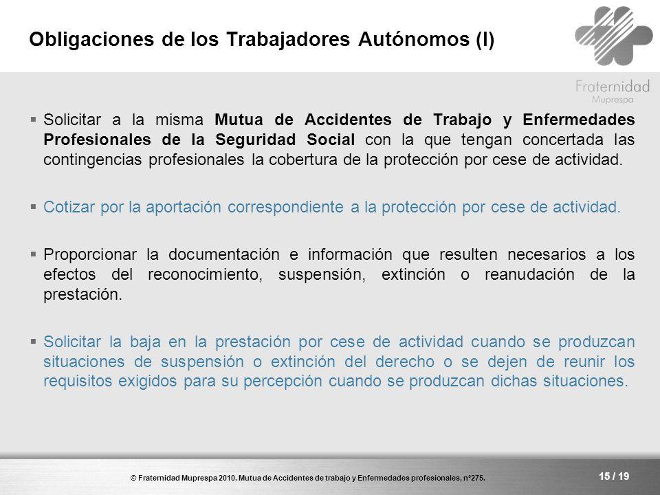 Obligaciones de los Trabajadores Autónomos (I)