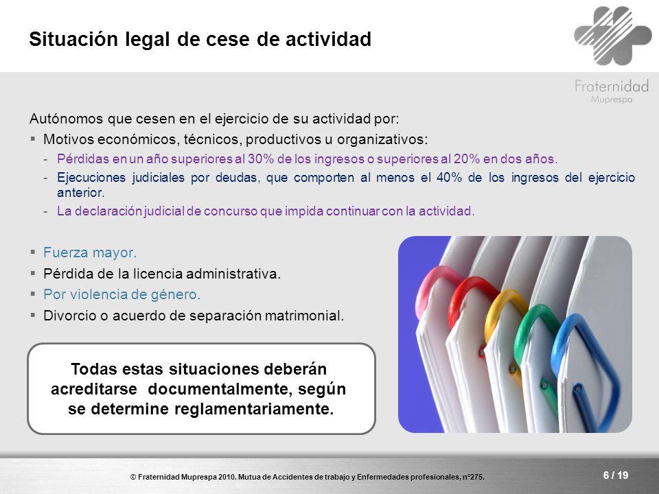 Situación legal de cese de actividad