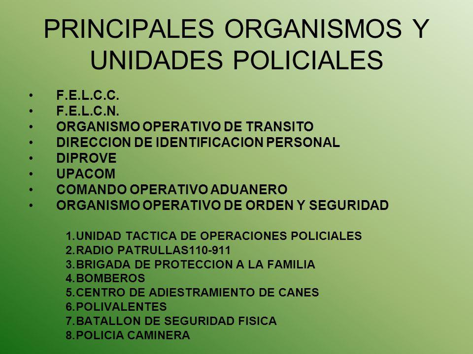 PRINCIPALES ORGANISMOS Y UNIDADES POLICIALES