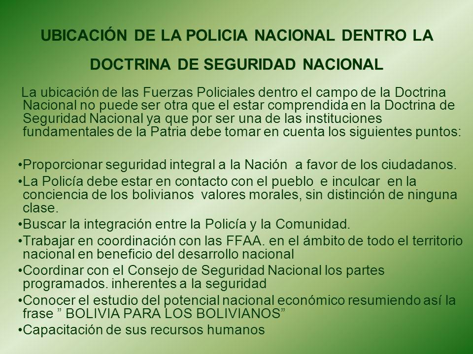 UBICACIÓN DE LA POLICIA NACIONAL DENTRO LA DOCTRINA DE SEGURIDAD NACIONAL
