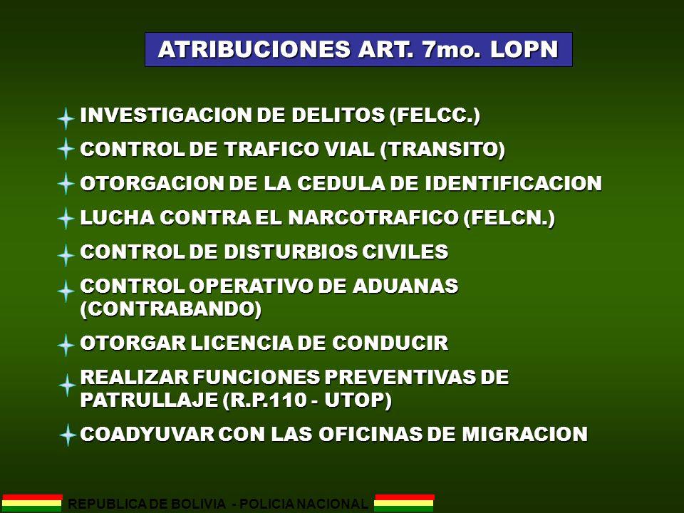 ATRIBUCIONES ART. 7mo. LOPN REPUBLICA DE BOLIVIA - POLICIA NACIONAL