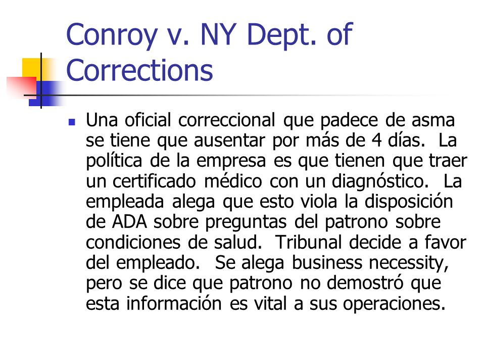 Conroy v. NY Dept. of Corrections