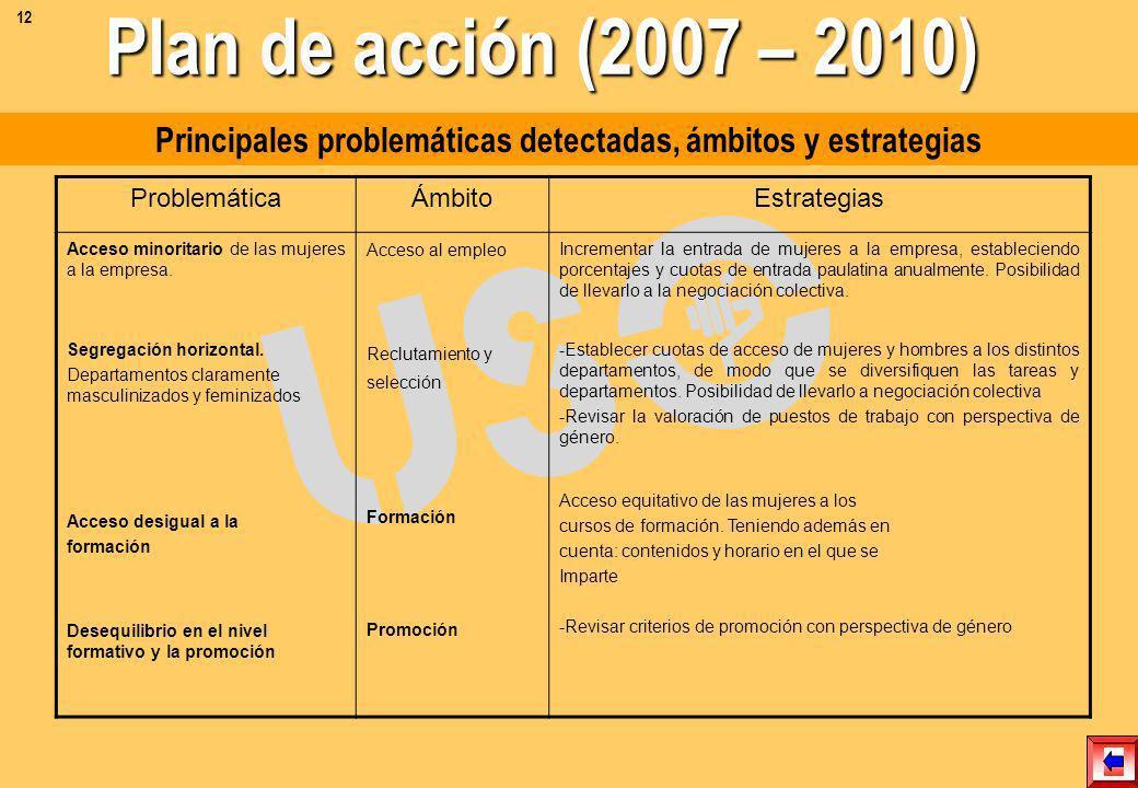 Principales problemáticas detectadas, ámbitos y estrategias