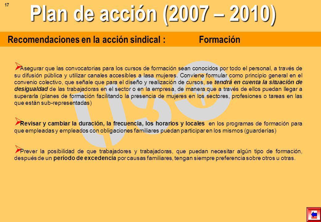17 Plan de acción (2007 – 2010) Recomendaciones en la acción sindical : Formación.