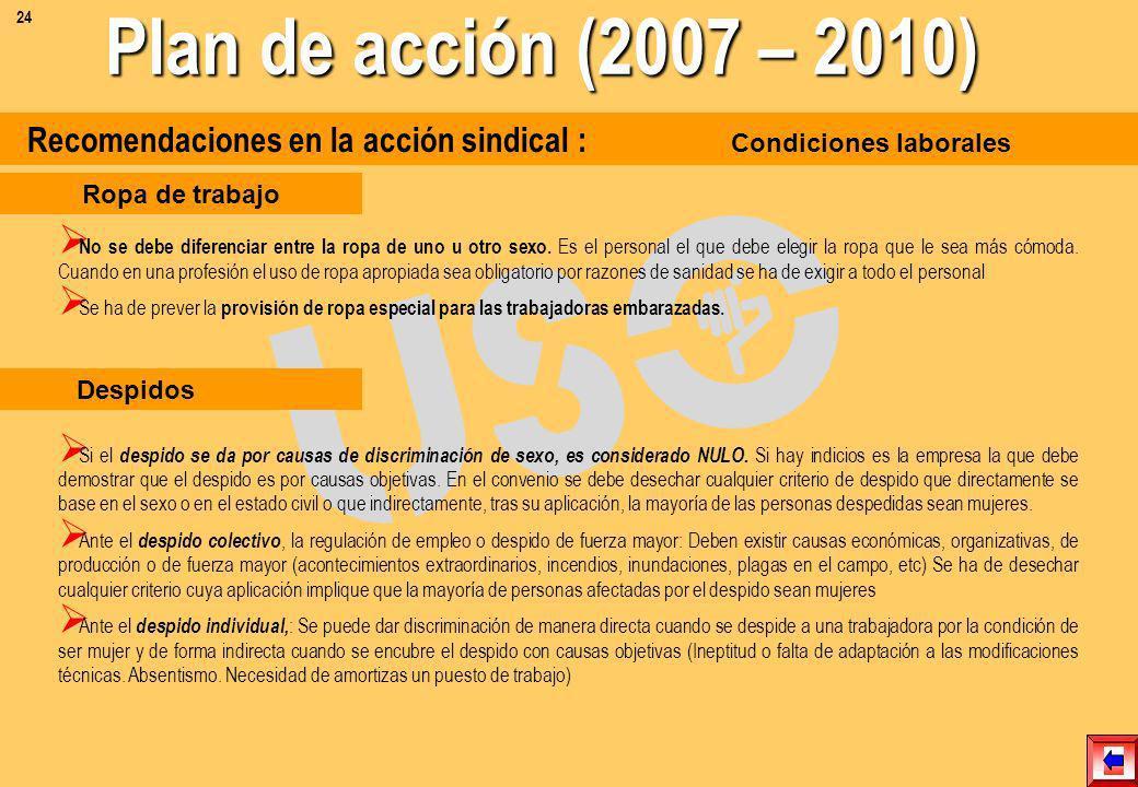 24 Plan de acción (2007 – 2010) Recomendaciones en la acción sindical : Condiciones laborales.