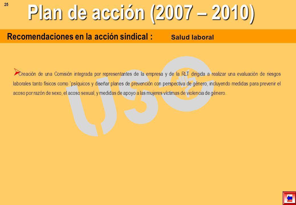25Plan de acción (2007 – 2010) Recomendaciones en la acción sindical : Salud laboral.