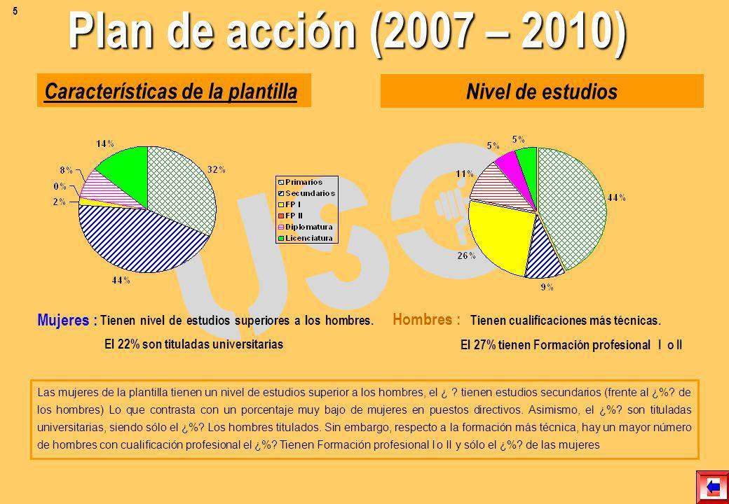 Plan de acción (2007 – 2010) Características de la plantilla