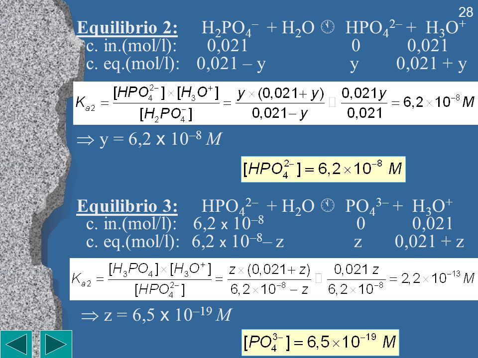 Equilibrio 2: H2PO4– + H2O  HPO42– + H3O+ c. in