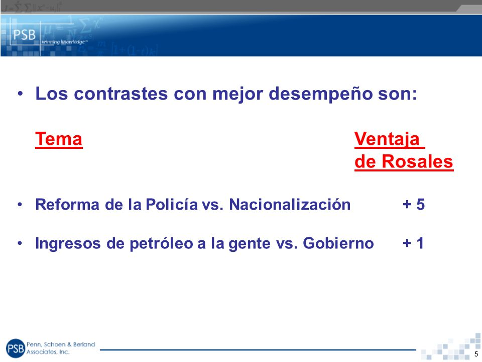 Los contrastes con mejor desempeño son: Tema Ventaja de Rosales