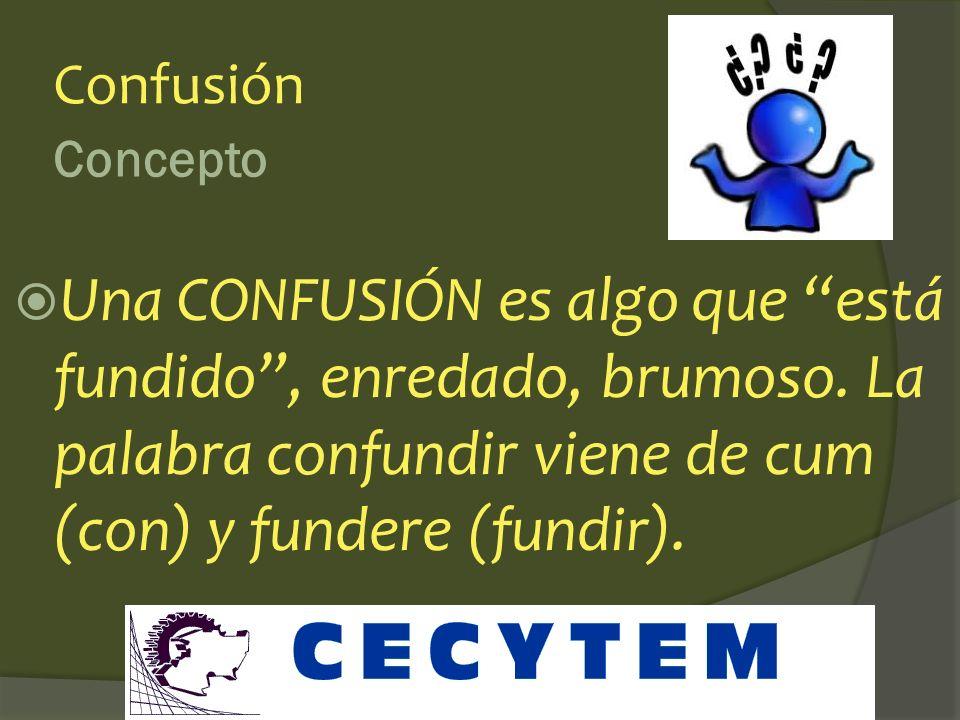 Confusión Concepto. Una CONFUSIÓN es algo que está fundido , enredado, brumoso.