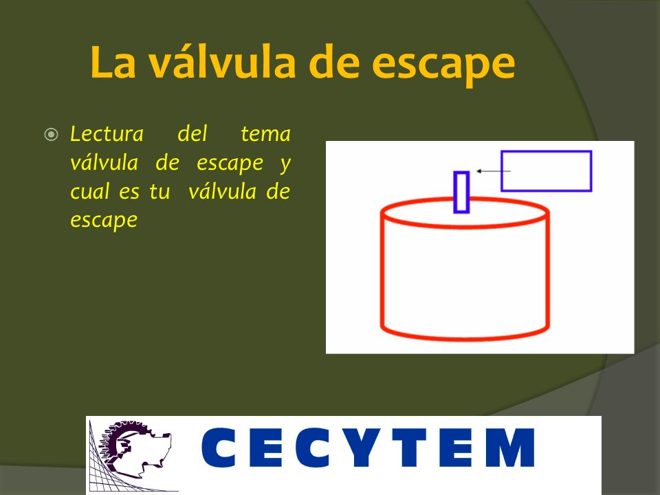 La válvula de escape Lectura del tema válvula de escape y cual es tu válvula de escape