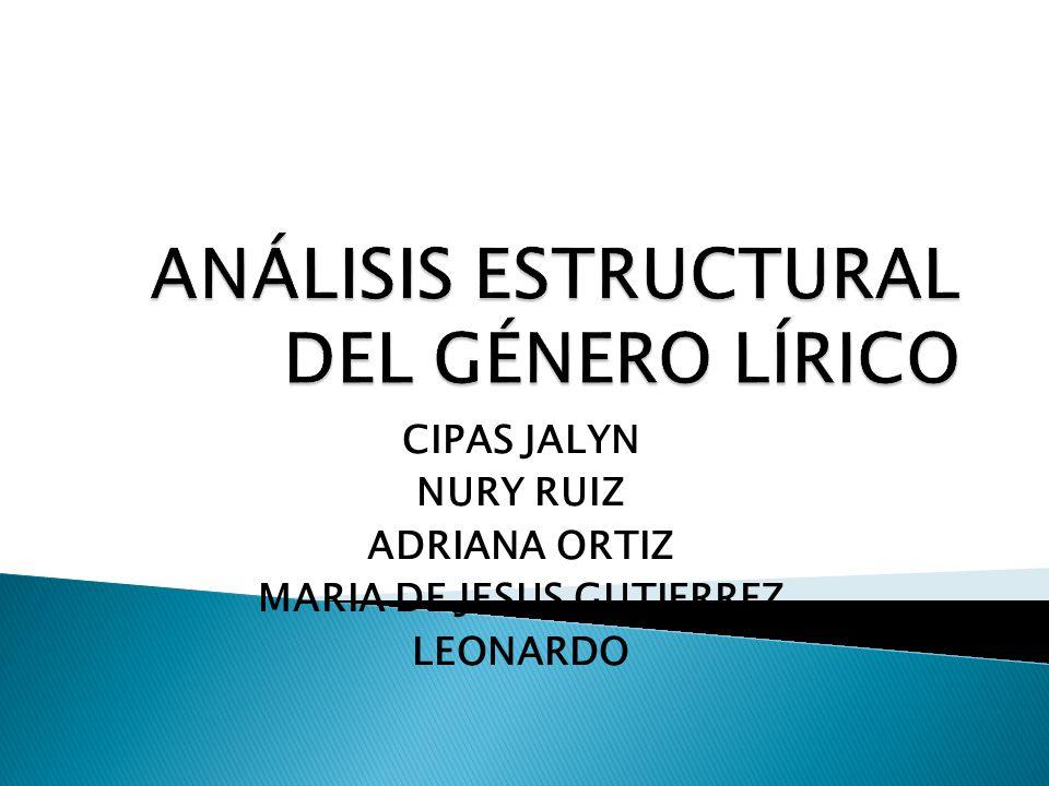 ANÁLISIS ESTRUCTURAL DEL GÉNERO LÍRICO