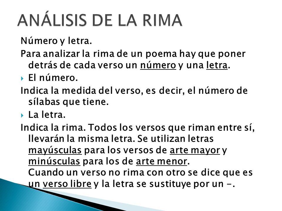 ANÁLISIS DE LA RIMA Número y letra.